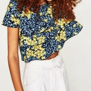 NWOT Zara Layered Floral Cotton Mesh Cropped Top